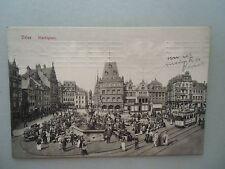 Ansichtskarte Trier Marktplatz 1911 Straßenbahn Personen