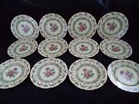 Bavaria 12 elegant china dinner buffet plates Dresden Flowers roses ivory blank