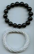 12 MM Onxy & Woven White Crystal Stretch Stacking Bangle Bracelet Set