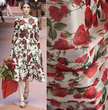 SAMPLE FOR 100% PURE SILK ORGANZA SATIN FACED RED ROSES PRINT