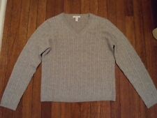 Charter Club Cashmere Light Gray Metallic Cable Knit Crewneck LS Sweater Sz S