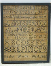 ANTIQUE 1805 RACHEL WARDS ALPHABET EMBROIDERY NEEDLEWORK SAMPLER