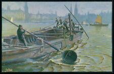 Dutch Dredging Ship boat original old 1910s postcard