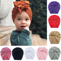 Infant Newborn Baby Turban Knot Hat Head Wrap Headband Soft Cotton Beanie Caps