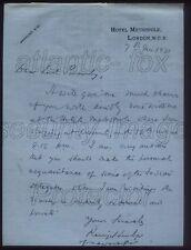 """1931 RARE letter Ranjitsinhji Vibhaji Jadeja """"Ranji"""" the Famous Indian Cricketer"""
