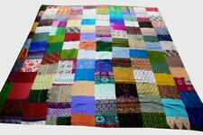 Patola Silk Cotton Kantha Quilt Handmade Patchwork  Bedspread Throw Gudri Decor2