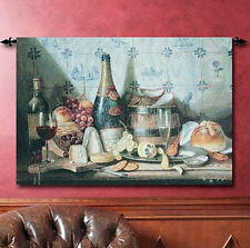 Delft Tiles Wine & Cheese Grande Tapestry Wall Hanging