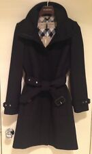BURBERRY Womens GIBBSMOORE WOOL Blend Belted Trench Coat - BLACK - SIZE 2 - NWT!