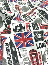 LONDON BUS BIGBEN UNION JACK PRINT 100% COTTON FABRIC CRAFT SKIRT BAGS UPHOL