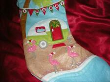 "TROPICAL CHRISTMAS PINK FLAMINGO ""BEACHSIDE TRAILER TRASH CAMPER"" STOCKING"