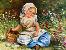 """Country Girl  Hand Painted 8""""x10"""" Oil Painting Unstretched Canvas Art"""