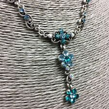 Sparkly Delicate Vintage Style Necklace Teal Aqua Rhinestones Silver-tone Chain