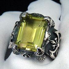 PRECIOUS DRAGON CLAW LEMON GOLD QUARTZ RING 925 SZ 9