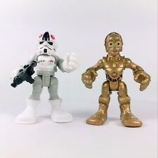 2Pcs Playskool Star Wars Galactic Hero C-3PO & AT-AT Walker Trooper figure 2.5""
