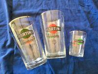 🔴 Set 2 bicchieroni mixer shaker + misurino MARTINI in vetro orig anni 60