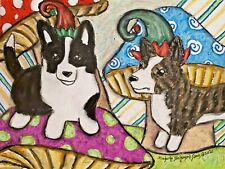 Cardigan Elves Original Pastel Painting 9x12 Welsh Corgi Collectible Elf Dog Art