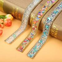 Bling Crystal Rhinestone Ribbon Wedding Dress Crafts Sewing Decor Trims 50cm
