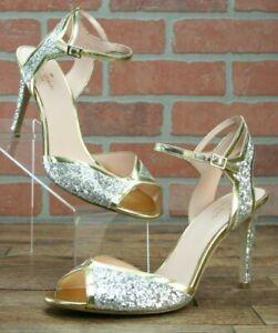 Kate Spade New York Women's Oak Heeled Sandal, Silver/Gold, Size 10 M