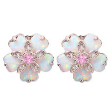 White Fire Opal Pink Topaz Zircon Silver Women Jewelry Gems Stud Earrings OH3901
