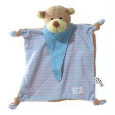 Simba Bär Schmusetuch Kuscheltuch gestreift blau rosa mit Schnullerhalter 23cm