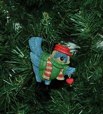 Blue Bird in Green Sweater Christmas Ornament
