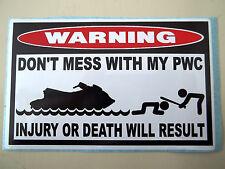 Funny Warning Sticker Pwc Personal Watercraft Wave Runner Seadoo Jetski Decal676