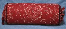 Neck Roll Pillow made with Ralph Lauren Cold Spring Red Floral Fabric  Trim Cord