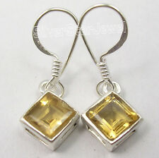 925 Sterling Silver Authentic CITRINE GEMS STYLISH Dangle Earrings 1 1/8""