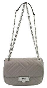 Michael Kors Peyton Shoulder Bag Pearl Grey Quilted Leather Medium Handbag