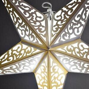"Quasimoon 24"" Atomic White w/ Tissue Paper Star Lantern, Hanging Decoration b..."