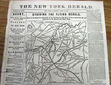 1865 Civil War newspaper w MAP & Hdlne GEN ROBERT E LEE defeated into SURRENDER