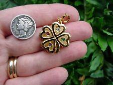 Vintage MONET CHARM - rhinestone shamrock 4 leaf clover - St Patrick's Day Irish