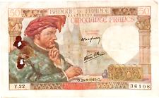 1940 France 50 Francs Banknote