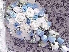 Baby/light blue and white  bridal  teardrop Wedding bouquet crystals any colour.