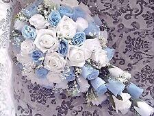 Bambino/azzurro e bianco Bouquet da Sposa Matrimonio a goccia cristalli di qualsiasi colore.