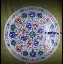 "18"" white round marble table top coffee home decor handmade kitchen decor f11"