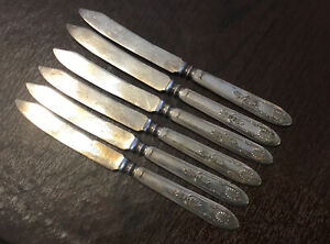 """6 Antique """"Kings"""" Fruit Knives 6.5"""" Silver Plated, Pointed Solid Handle 1888"""