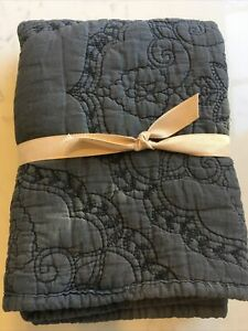 NEW Pottery Barn Washed Cotton Quilted EURO Sham~Shale Gray