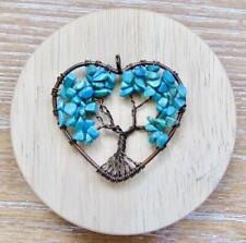 Blue Turquoise Stone Tree of Life Copper Wire Pendant Heart Natural Love Charm