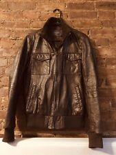 ZARA MEN Real Leather Bomber Jacket Lambskin Dark Brown