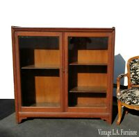 Vintage French Country Oak Display Cabinet Curio Cabinet with Glass Doors
