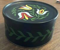 Vintage Round Metal Tin by Guildcraft Black with Handpainted Tulips
