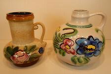 2 Vasen VEB Strehla DDR 9012/9017 Keramik florales Dekor bunt Henkelvase 17/14cm