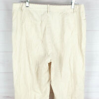 Ralph Lauren womens size 12 beige striped 100% cotton flat front mid rise pants