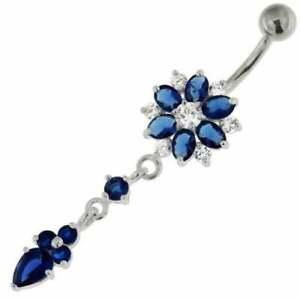 Sapphire & Diamond Navel Flower Dangle Button Belly Ring 14K White Gold Over