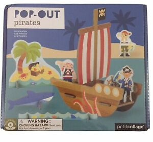 Petit Collage Pirate Ship - Pop-Out Puzzle - 4+ 19 Wooden Pieces Christmas Gift