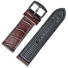 Breathable 22mm Dark Brown crocodile Grain Leather Black Rubber Watch Band Strap