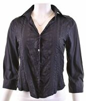 TIMBERLAND Womens Shirt 3/4 Sleeve Size 14 Medium Black Cotton  JC03