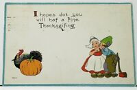 Have a Fine Thanksgiving Dutch Children Embossed Gilded 1915 Postcard I5