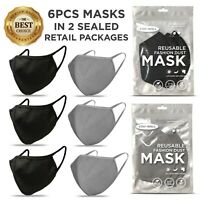 6 PCS Face Masks, BLACK & GRAY Masks, Washable Reusable, Unisex Mask *US SELLER*